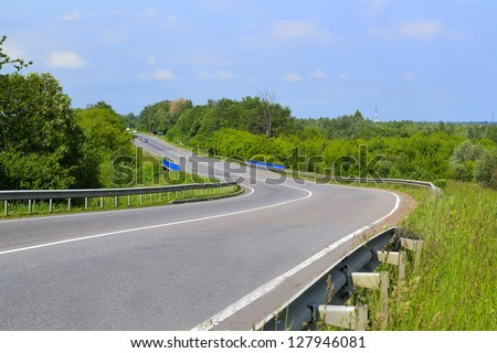 Turning of the road - stock photo