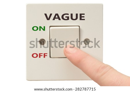 Turning off Vague with finger on electrical switch - stock photo