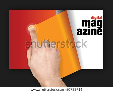 turning pages of digital magazine with finger on touchscreen with ripple effect - stock photo