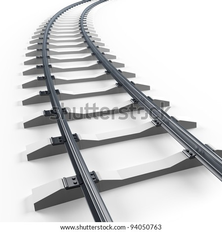 Turning railway. 3d render illustration isolated on white - stock photo