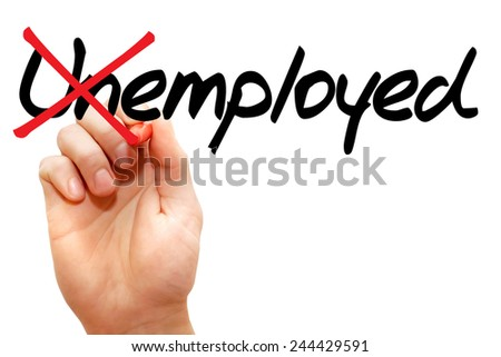 Turning the word Unemployed into Employed, business concept - stock photo
