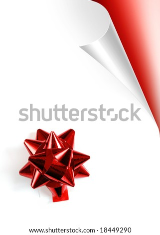 Turning white paper page with red Christmas bow