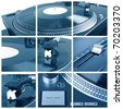 Turntable collage. Closeup parts of turntable - stock photo