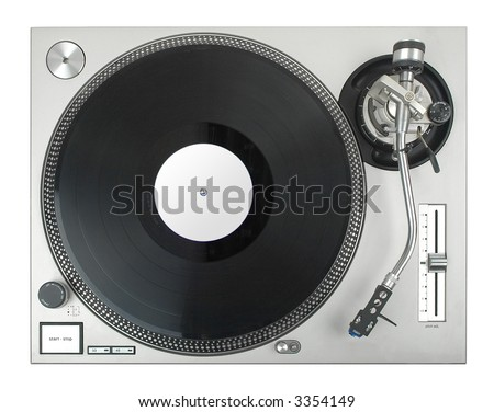 turntable - dj's vinyl player isolated on white background - stock photo