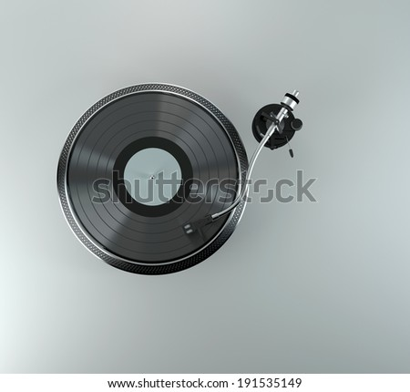 Turntable - dj's vinyl player with a red vinyl disk on it - stock photo