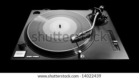 turntable in dark key with beautiful soft lightness - stock photo