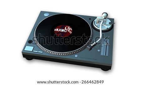 Turntable with black vinyl record isolated on white background - stock photo
