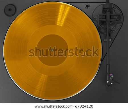 Turntable with gold record - stock photo