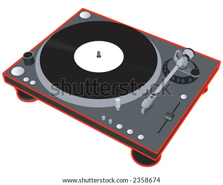 Turntable with vinyl record isolated in a white background