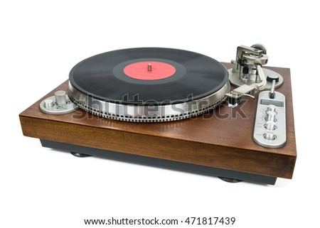 Turntable with vinyl record isolated on white background with clipping path