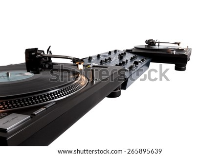 Turntables and mixer over white  - stock photo
