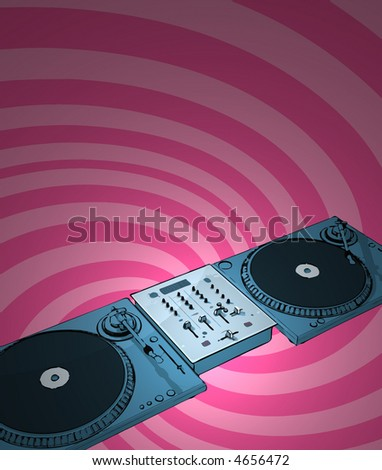 turntables & audio mixing console with twirl background - shaded