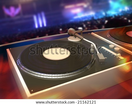 Turntables with DJ mix desk, rave party