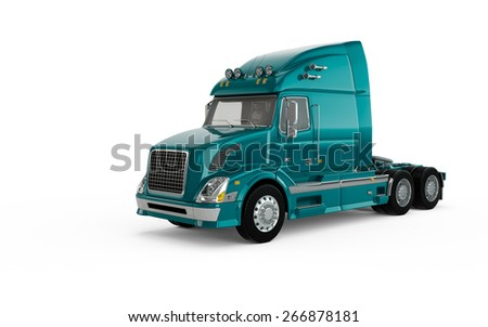 Turquoise american truck isolated on white background - stock photo