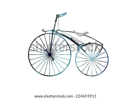 Turquoise and black watercolor and ink hand drawn retro bicycle . Model Michaux - stock photo