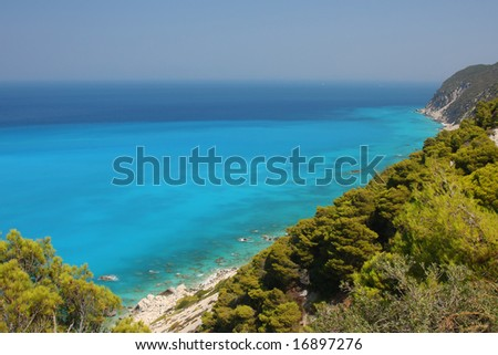 Turquoise and blue waters at the western coast of Lefkada island (Pefkakia area), at the Ionian sea, Greece