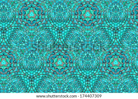 Turquoise background with a pattern made from little stones  - stock photo