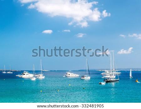 Turquoise bay of Las Salinas. Ibiza, Balearic islands. Spain - stock photo