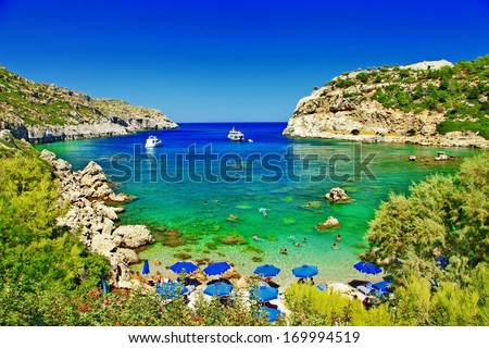turquoise beaches of Rhodes,Greece - stock photo