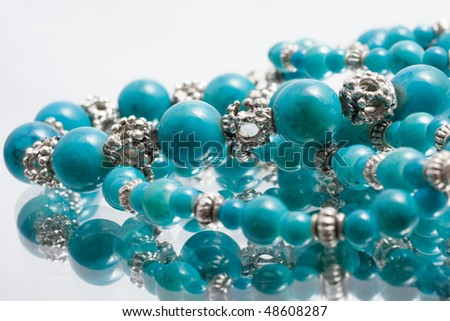 Turquoise beads - stock photo