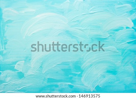 turquoise blue abstract acrylic hand painted background - stock photo