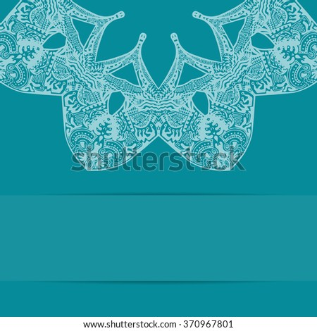 Turquoise blue card with floral ornate pattern and copy space. Zentangle handdrawn style - stock photo