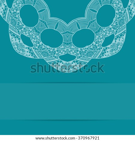 Turquoise blue card with handdrawn zentangle pattern and copy space - stock photo