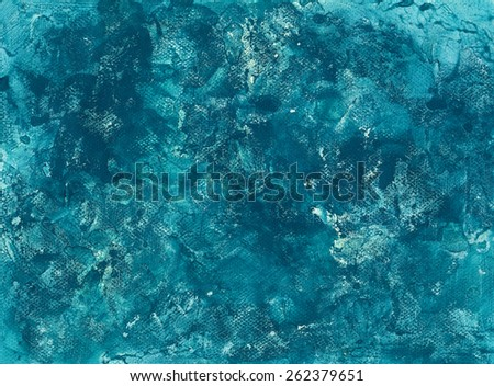 Turquoise Blue Grunged Background on Paper