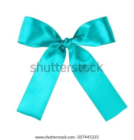 turquoise blue ribbon to put on your present, isolated