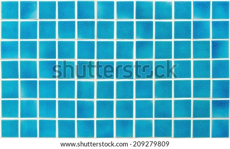 Turquoise ceramic tiles texture with white filling - stock photo
