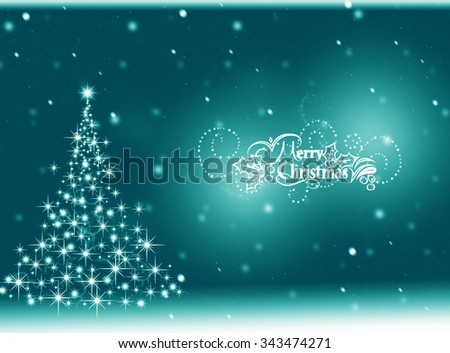 turquoise Christmas tree card. Merry Christmas. Winter holiday background  - stock photo