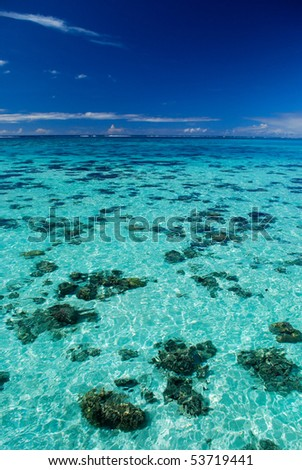 Turquoise clear water in the blue lagoon surrounding Moorea island in French Polynesia