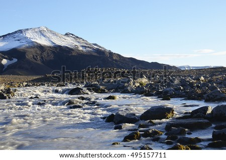 Turquoise color river originated from snow melt of the glacier in the background, Iceland