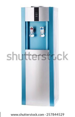 Turquoise cooler isolated on white background. - stock photo
