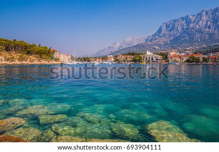 turquoise Crystal clear water of Adriatic sea in Makarska City, Dalmatia, Croatia