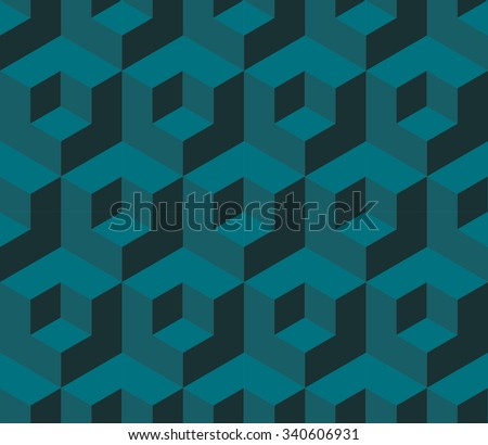 Turquoise cubic geometric seamless pattern raster - stock photo