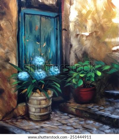 turquoise door and flowers cobblestone steps nostalgic vintage painting - stock photo