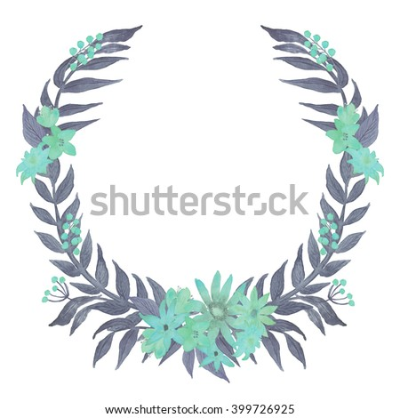Turquoise Floral Wreath Watercolor Illustration Isolated on the white background