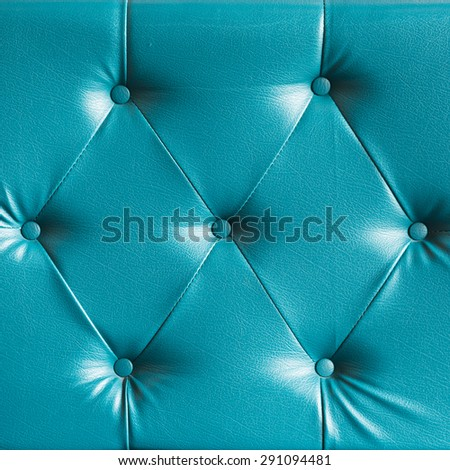 turquoise genuine leather sofa pattern as background image - stock photo