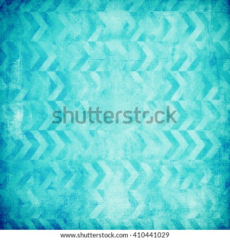 Turquoise geometric design on old vintage paper - stock photo