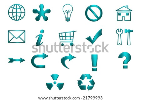 Turquoise icons and symbols isolated over white background