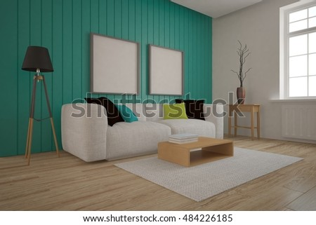 Turquoise interior design. 3D illustration