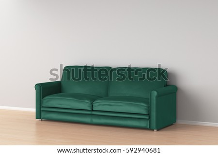 Turquoise Leather Sofa In Interior. 3d Render