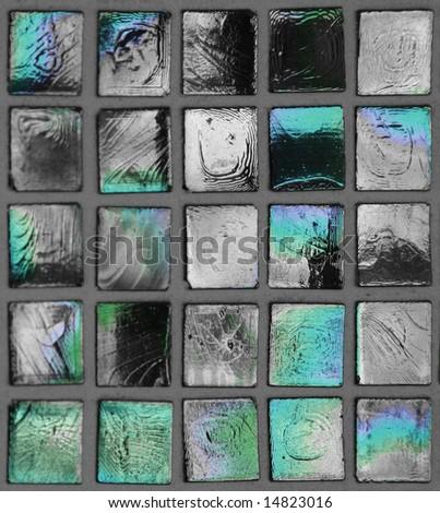 Turquoise mosaic squares - stock photo