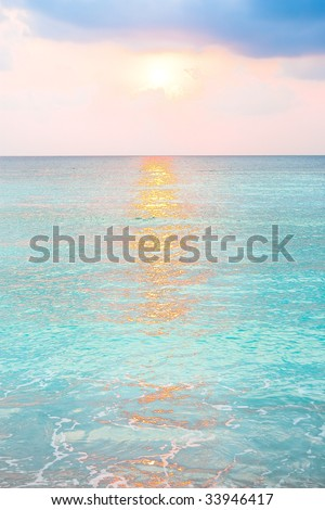 Turquoise ocean and nice soft colors  in sunrise at tropical island ,India - stock photo