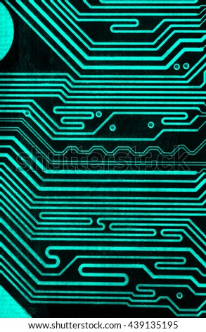 turquoise pcb board integrated circuit motherboard computer parts abstract background - stock photo