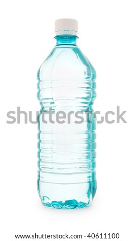 turquoise plastic bottle of water