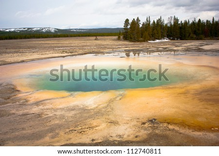 Turquoise pool, hot spring in midway geyser basin, Yellowstone National Park - stock photo