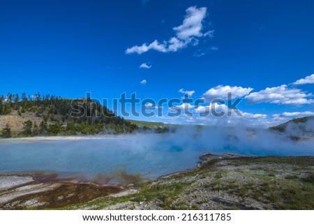 Turquoise Pool Midway Geyser Basin Yellowstone National Park - stock photo