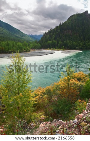 Turquoise river and mountains. Altay. Russia. - stock photo